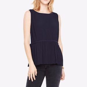 Ann Taylor Pleated Side Ties Sleeveless Blouse
